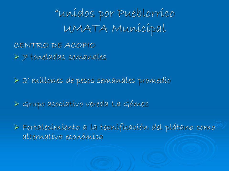 unidos por Pueblorrico UMATA Municipal CENTRO DE ACOPIO 7 toneladas semanales 7 toneladas semanales 2 millones de pesos semanales promedio 2 millones