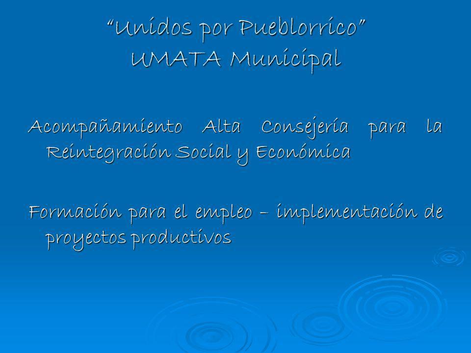Unidos por Pueblorrico UMATA Municipal Acompañamiento Alta Consejería para la Reintegración Social y Económica Formación para el empleo – implementaci