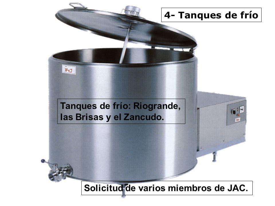 4- Tanques de frío Tanques de frío: Riogrande, las Brisas y el Zancudo. Solicitud de varios miembros de JAC.