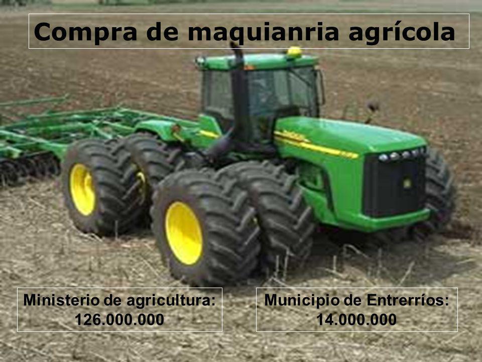 Compra de maquianria agrícola Ministerio de agricultura: 126.000.000 Municipio de Entrerríos: 14.000.000