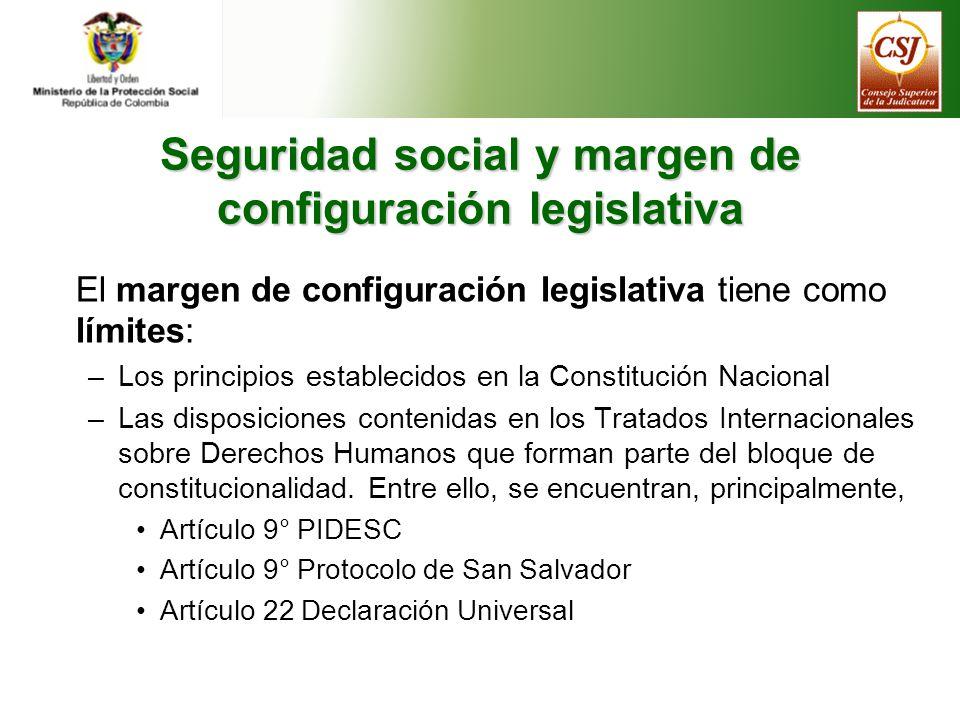 Seguridad social y margen de configuración legislativa El margen de configuración legislativa tiene como límites: –Los principios establecidos en la Constitución Nacional –Las disposiciones contenidas en los Tratados Internacionales sobre Derechos Humanos que forman parte del bloque de constitucionalidad.