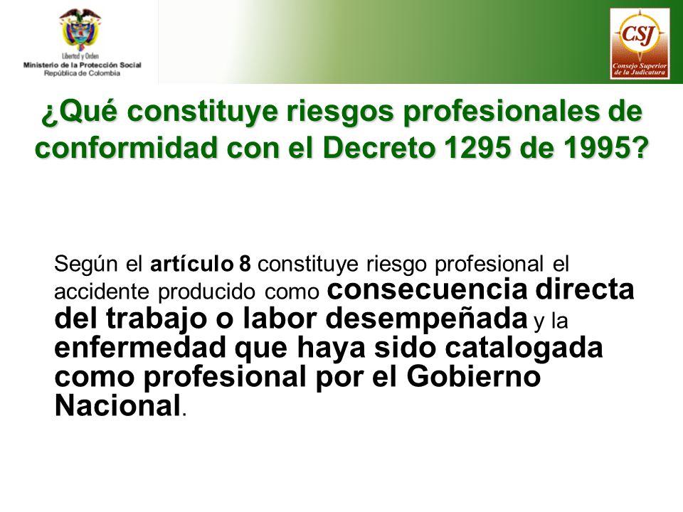 ¿Qué constituye riesgos profesionales de conformidad con el Decreto 1295 de 1995.