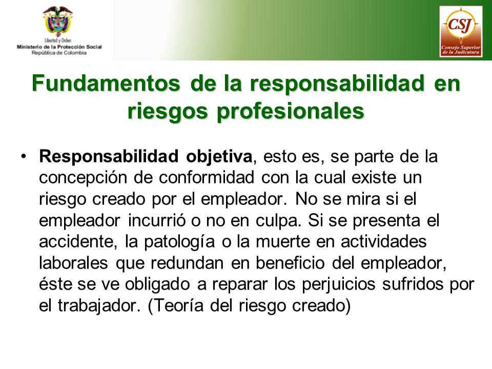 Fundamentos de la responsabilidad en riesgos profesionales Responsabilidad objetiva, esto es, se parte de la concepción de conformidad con la cual existe un riesgo creado por el empleador.