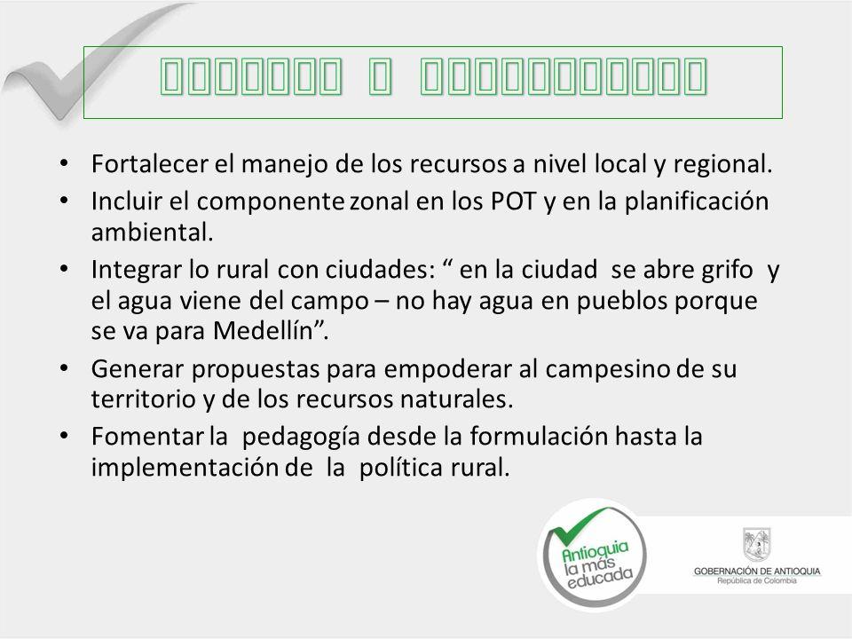 Fortalecer el manejo de los recursos a nivel local y regional.