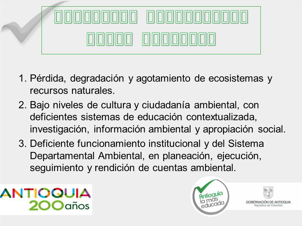 1.Pérdida, degradación y agotamiento de ecosistemas y recursos naturales.