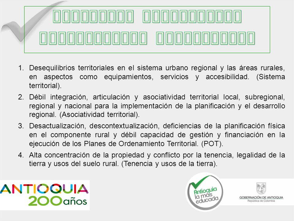 1.Desequilibrios territoriales en el sistema urbano regional y las áreas rurales, en aspectos como equipamientos, servicios y accesibilidad.