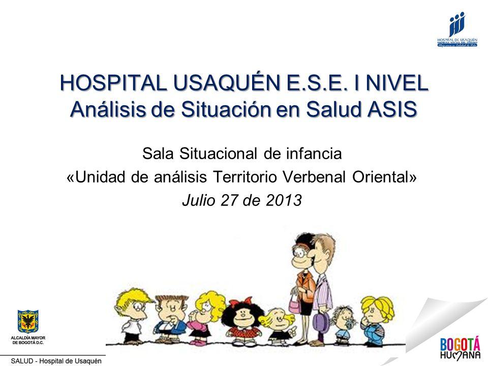 HOSPITAL USAQUÉN E.S.E. I NIVEL Análisis de Situación en Salud ASIS Sala Situacional de infancia «Unidad de análisis Territorio Verbenal Oriental» Jul