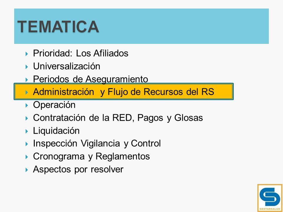 Prioridad: Los Afiliados Universalización Periodos de Aseguramiento Administración y Flujo de Recursos del RS Operación Contratación de la RED, Pagos
