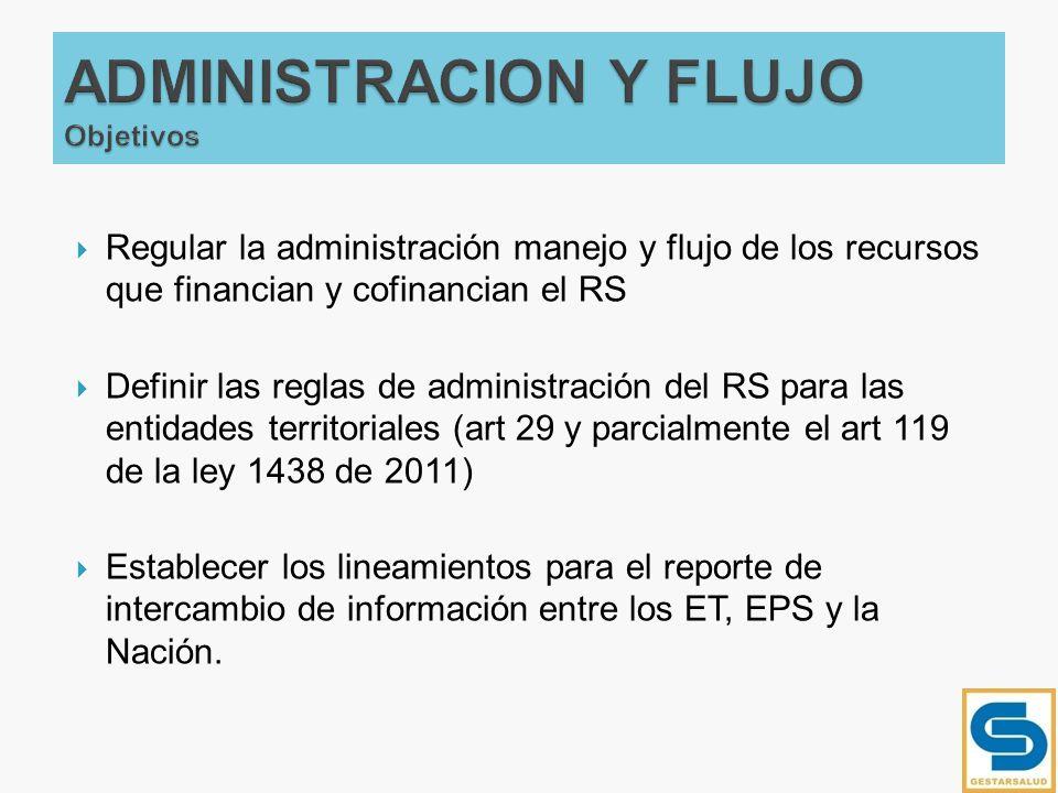 Regular la administración manejo y flujo de los recursos que financian y cofinancian el RS Definir las reglas de administración del RS para las entida