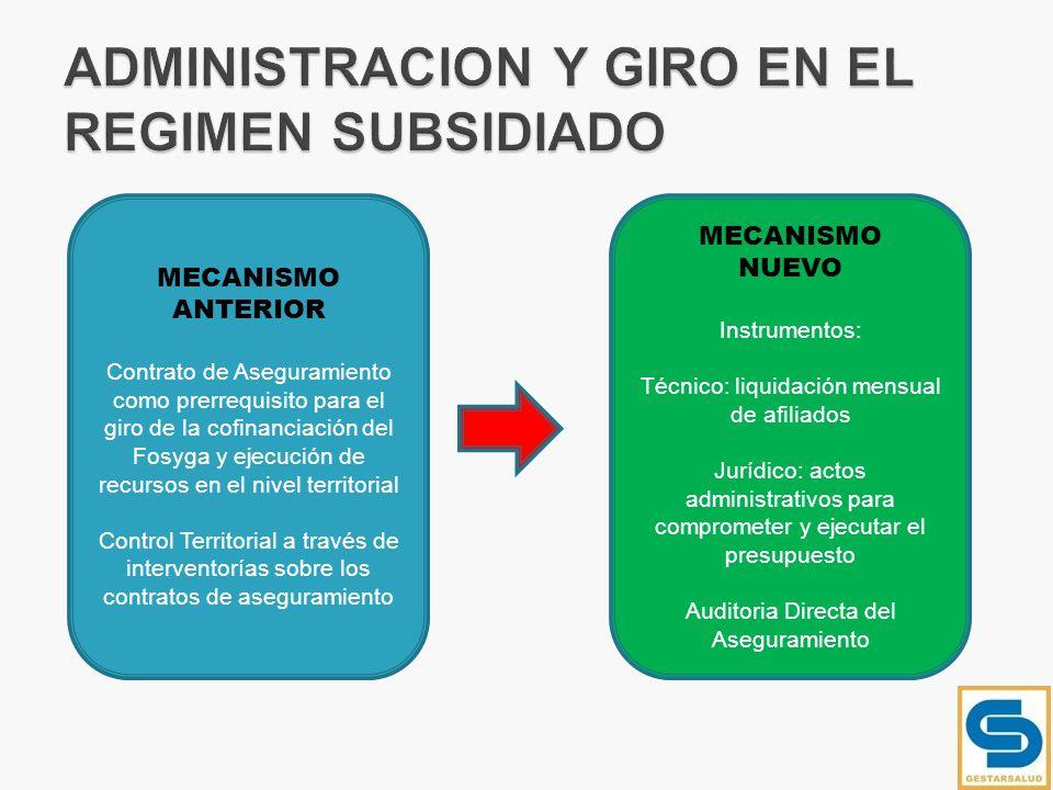 MECANISMO ANTERIOR Contrato de Aseguramiento como prerrequisito para el giro de la cofinanciación del Fosyga y ejecución de recursos en el nivel terri