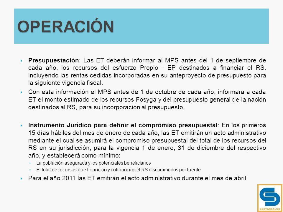 Presupuestación: Las ET deberán informar al MPS antes del 1 de septiembre de cada año, los recursos del esfuerzo Propio - EP destinados a financiar el