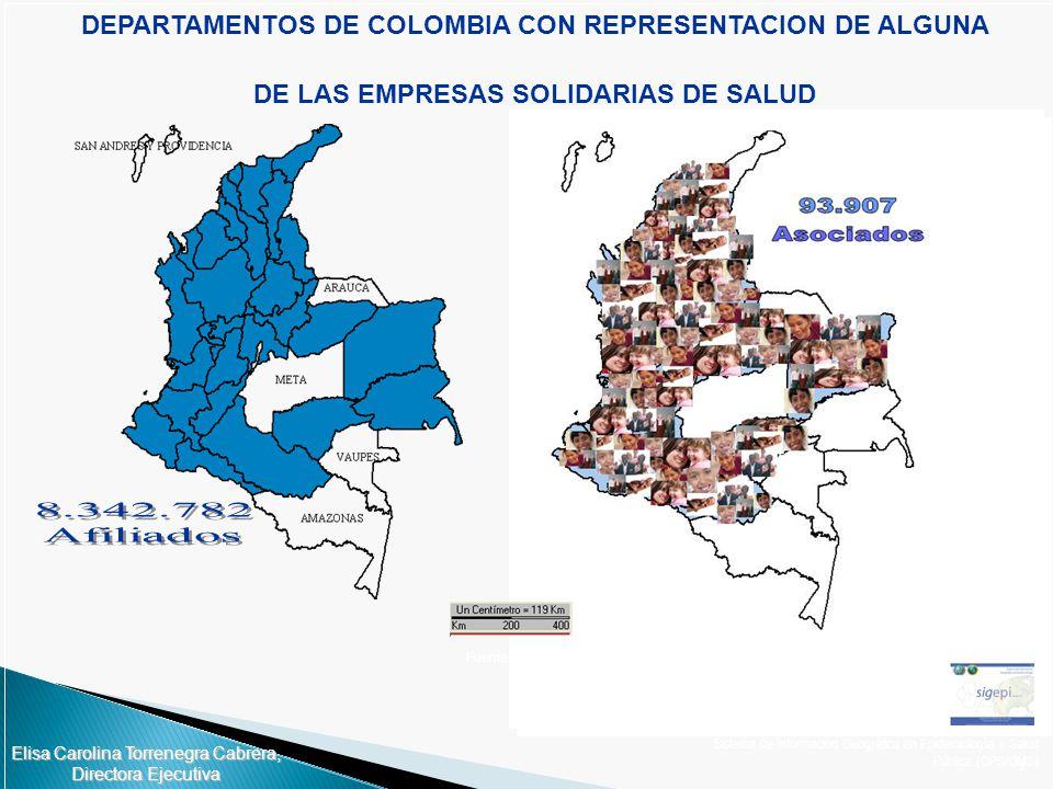 2 DEPARTAMENTOS DE COLOMBIA CON REPRESENTACION DE ALGUNA DE LAS EMPRESAS SOLIDARIAS DE SALUD Sistema de Información Geográfica en Epidemiología y Salu