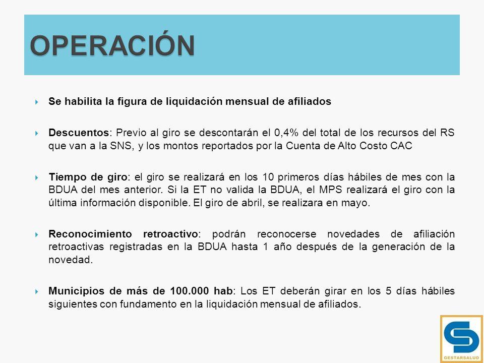 Se habilita la figura de liquidación mensual de afiliados Descuentos: Previo al giro se descontarán el 0,4% del total de los recursos del RS que van a