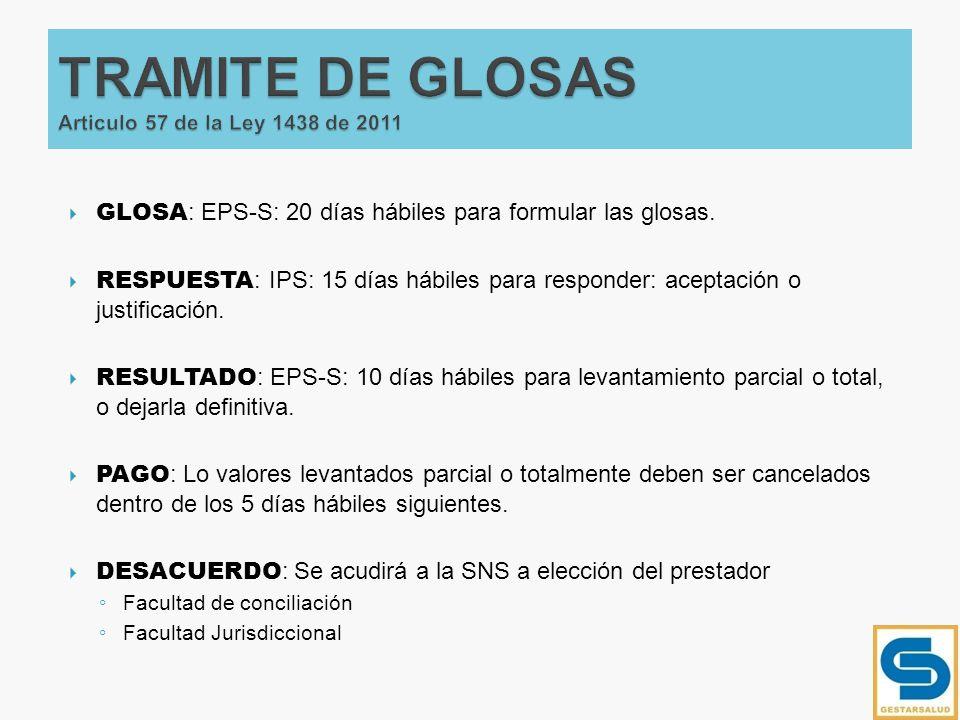 GLOSA : EPS-S: 20 días hábiles para formular las glosas. RESPUESTA : IPS: 15 días hábiles para responder: aceptación o justificación. RESULTADO : EPS-