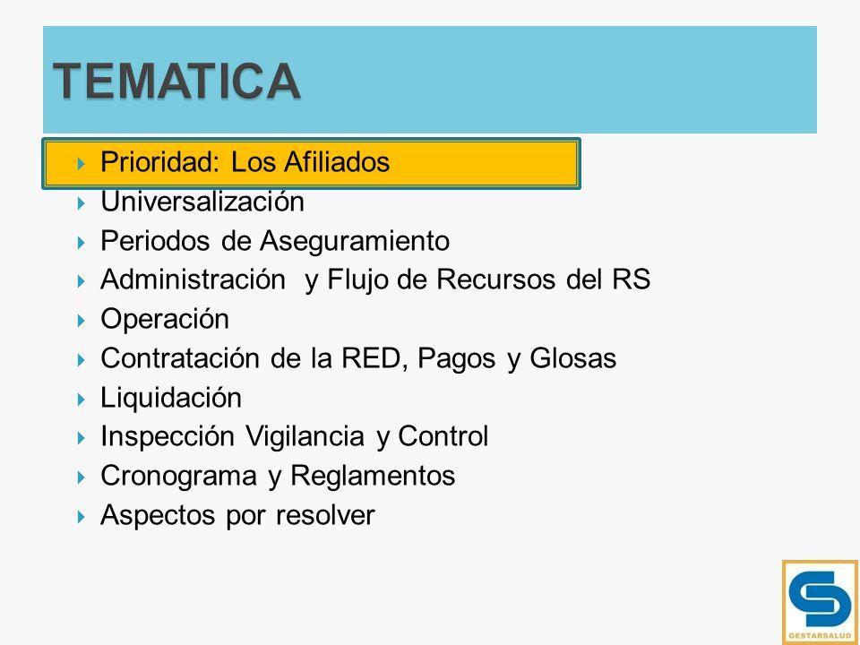AFILIADO FAMILIA COMUNIDAD IGUALACION DE PLANES FORTALECIMIENTO ESE SALUD PUBLICA APS UNIVERSALIDAD CALIDADREDES FORTALECIMIENTO EPS NO POS BDUA POS UPC INSPECCION,VIGILANCIA Y CONTROL DESCONCENTRADA ASEGURAMIENTOASEGURAMIENTO