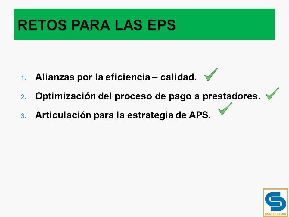 1. Alianzas por la eficiencia – calidad. 2. Optimización del proceso de pago a prestadores. 3. Articulación para la estrategia de APS.