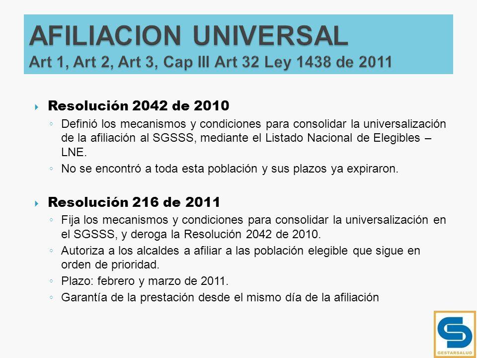 Resolución 2042 de 2010 Definió los mecanismos y condiciones para consolidar la universalización de la afiliación al SGSSS, mediante el Listado Nacion