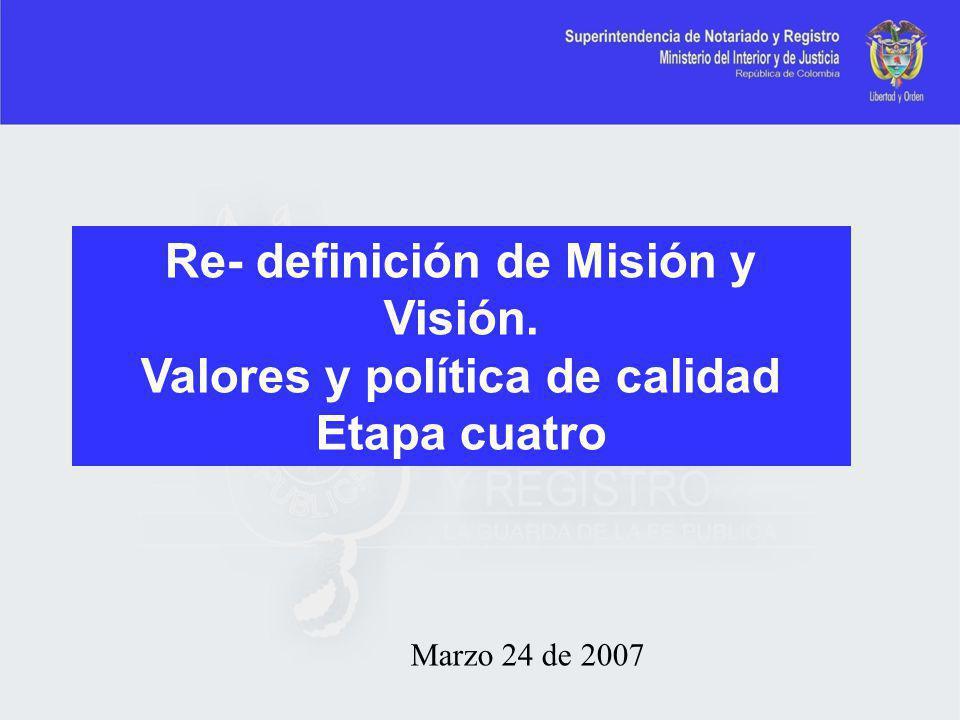Marzo 24 de 2007 Re- definición de Misión y Visión. Valores y política de calidad Etapa cuatro