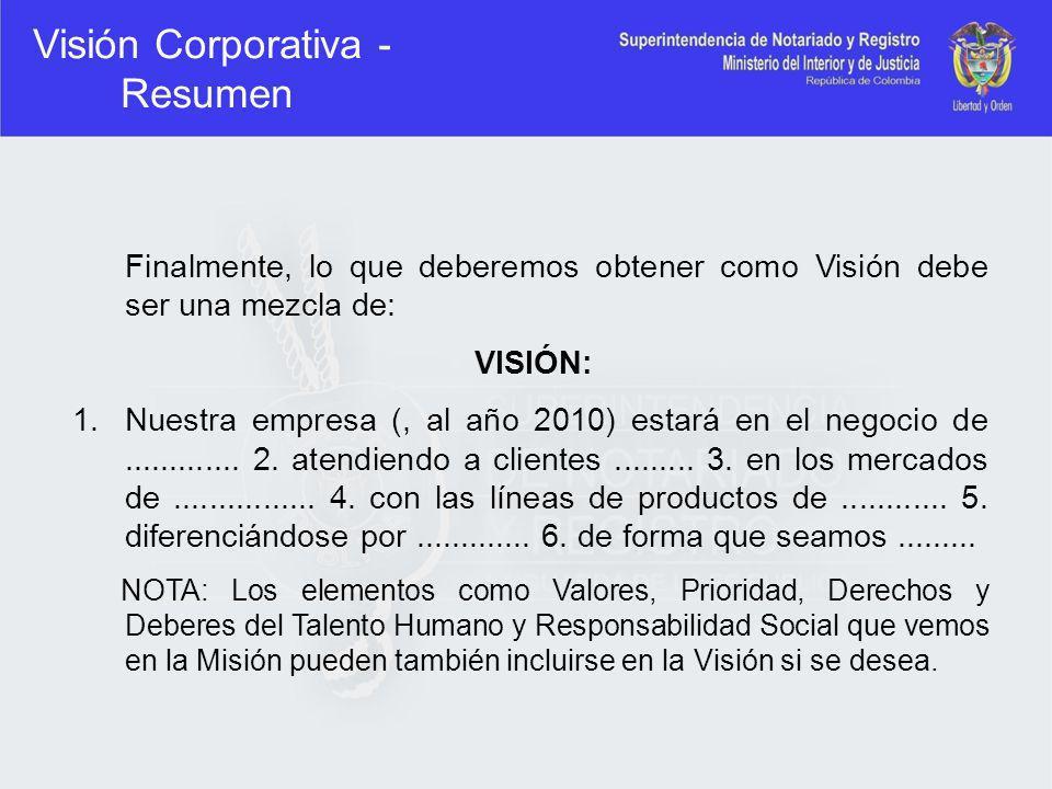 Visión Corporativa - Resumen Finalmente, lo que deberemos obtener como Visión debe ser una mezcla de: VISIÓN: 1.Nuestra empresa (, al año 2010) estará