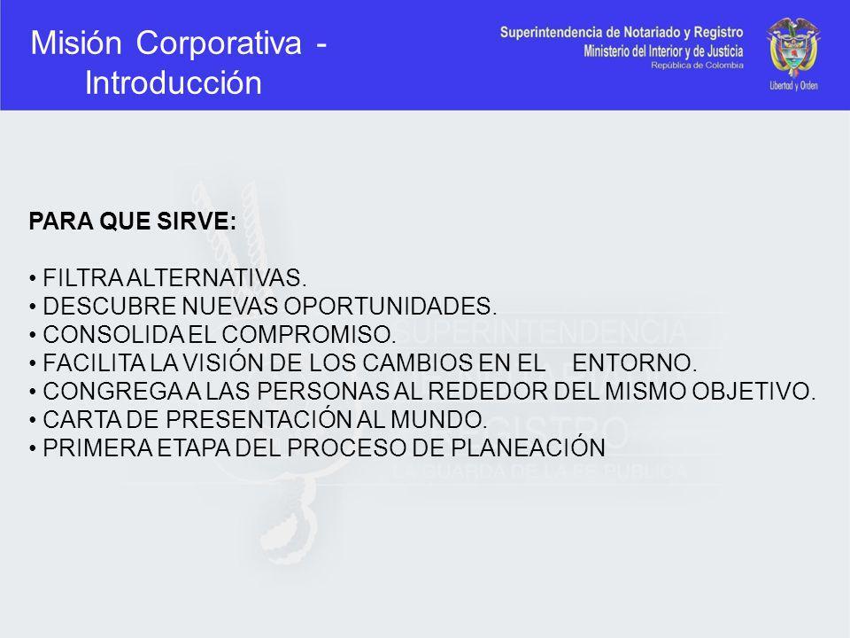Misión Corporativa - Introducción PARA QUE SIRVE: FILTRA ALTERNATIVAS. DESCUBRE NUEVAS OPORTUNIDADES. CONSOLIDA EL COMPROMISO. FACILITA LA VISIÓN DE L