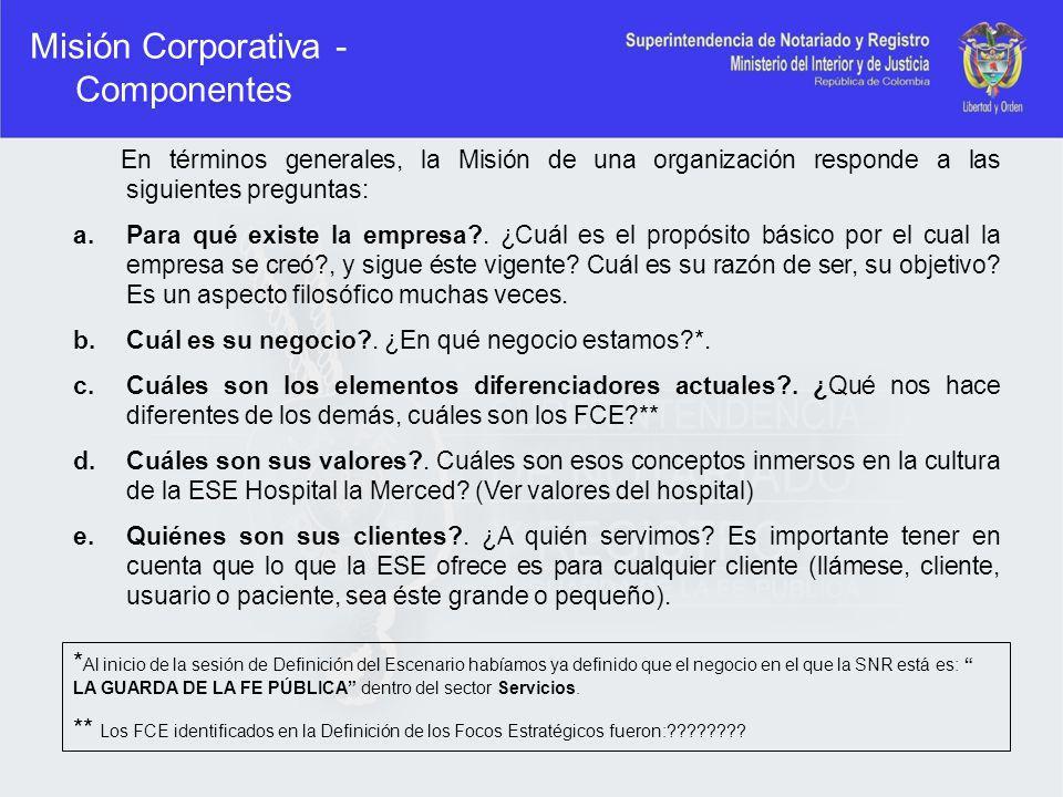 Misión Corporativa - Componentes En términos generales, la Misión de una organización responde a las siguientes preguntas: a.Para qué existe la empres