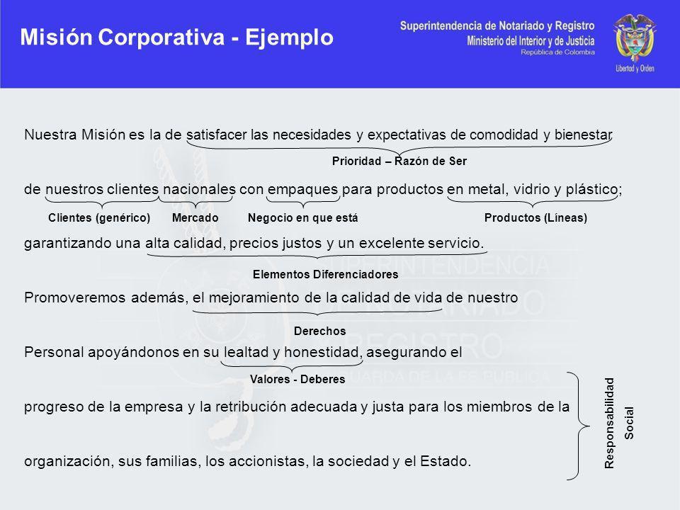 Misión Corporativa - Ejemplo Nuestra Misión es la de satisfacer las necesidades y expectativas de comodidad y bienestar de nuestros clientes nacionale