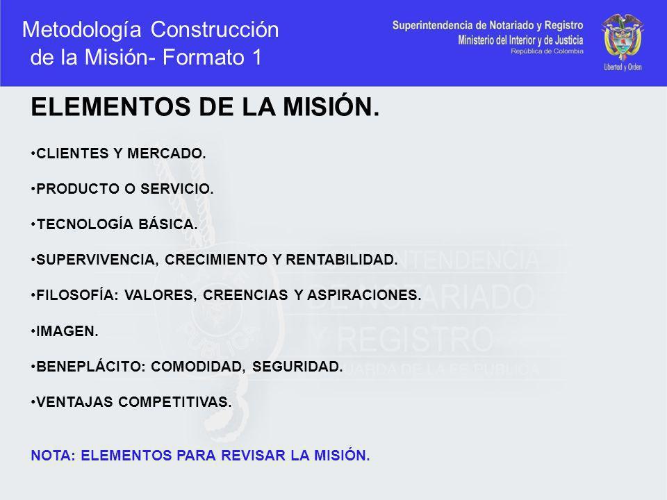 Metodología Construcción de la Misión- Formato 1 ELEMENTOS DE LA MISIÓN. CLIENTES Y MERCADO. PRODUCTO O SERVICIO. TECNOLOGÍA BÁSICA. SUPERVIVENCIA, CR