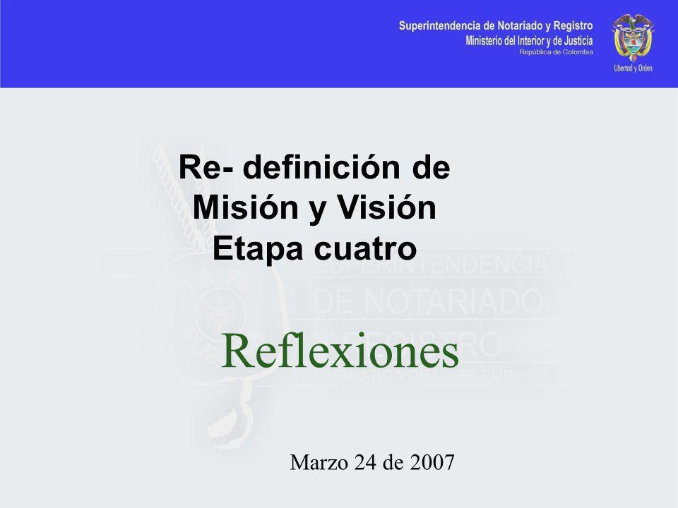 Marzo 24 de 2007 Re- definición de Misión y Visión Etapa cuatro Reflexiones