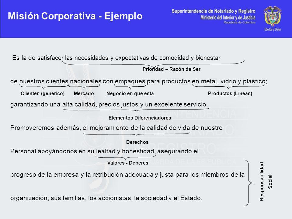 Misión Corporativa - Ejemplo Es la de satisfacer las necesidades y expectativas de comodidad y bienestar de nuestros clientes nacionales con empaques