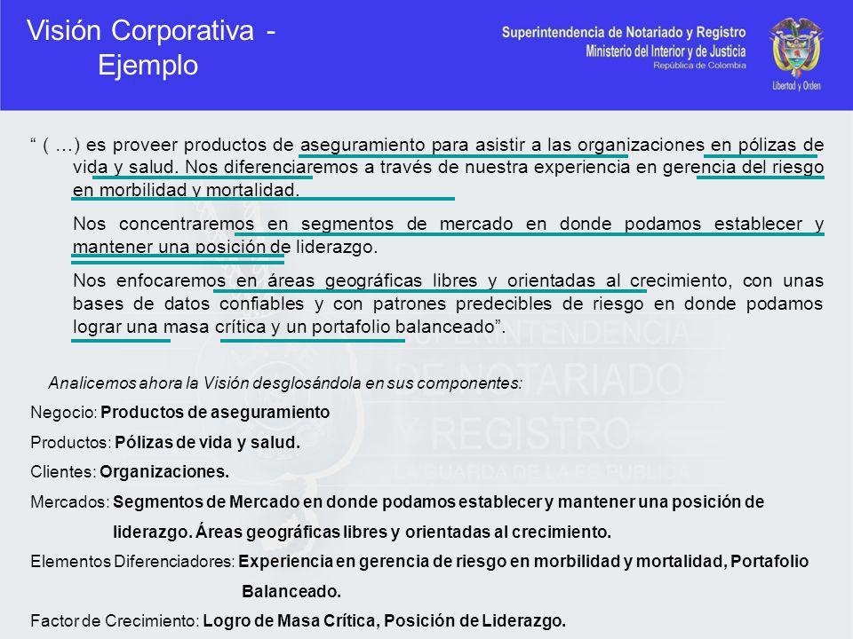Visión Corporativa - Ejemplo ( …) es proveer productos de aseguramiento para asistir a las organizaciones en pólizas de vida y salud. Nos diferenciare