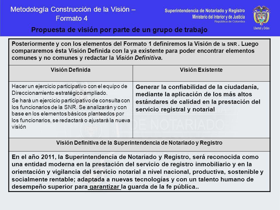 Metodología Construcción de la Visión – Formato 4 Posteriormente y con los elementos del Formato 1 definiremos la Visión de la SNR. Luego compararemos