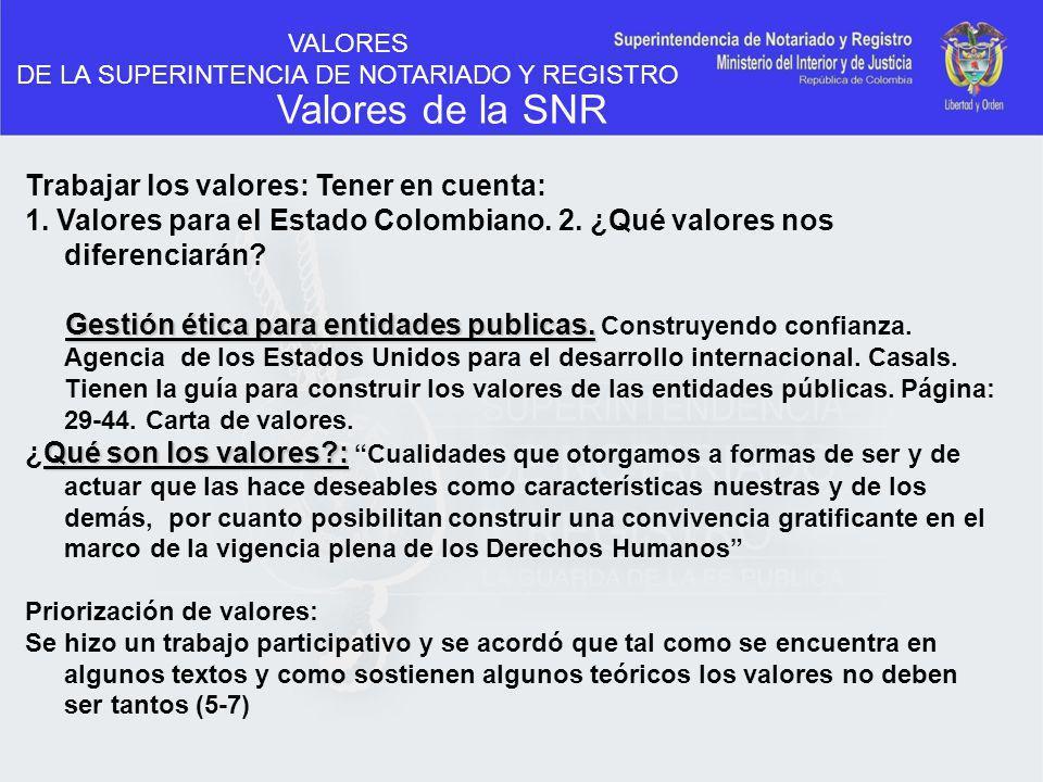 VALORES DE LA SUPERINTENCIA DE NOTARIADO Y REGISTRO Valores de la SNR Trabajar los valores: Tener en cuenta: 1. Valores para el Estado Colombiano. 2.