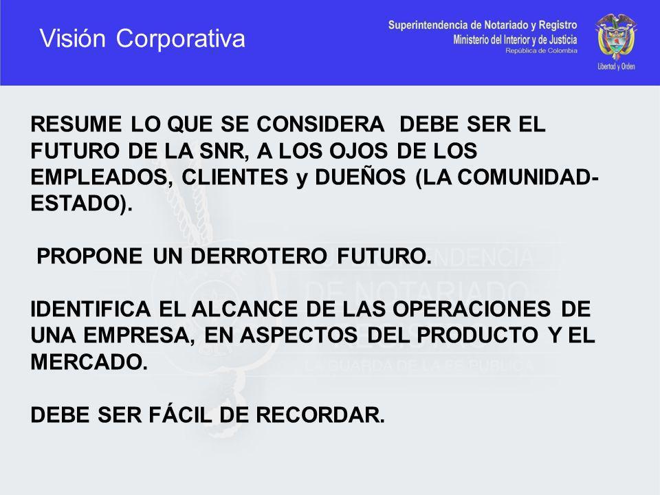 Visión Corporativa RESUME LO QUE SE CONSIDERA DEBE SER EL FUTURO DE LA SNR, A LOS OJOS DE LOS EMPLEADOS, CLIENTES y DUEÑOS (LA COMUNIDAD- ESTADO). PRO