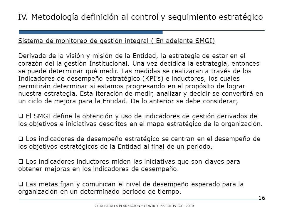 16 Sistema de monitoreo de gestión integral ( En adelante SMGI) Derivada de la visión y misión de la Entidad, la estrategia de estar en el corazón del