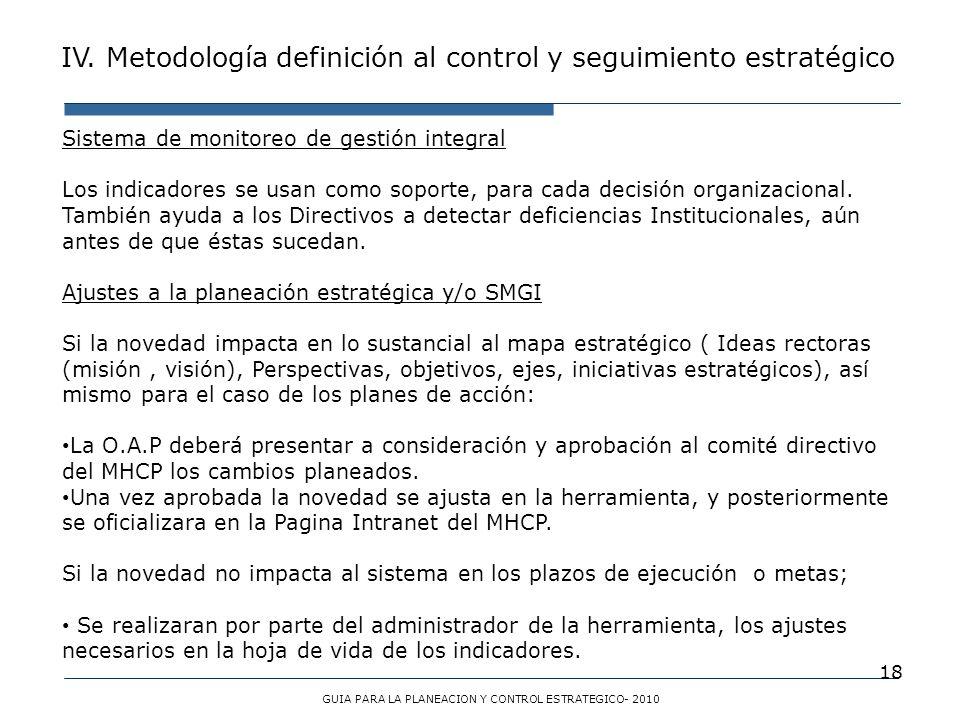 18 Sistema de monitoreo de gestión integral Los indicadores se usan como soporte, para cada decisión organizacional. También ayuda a los Directivos a