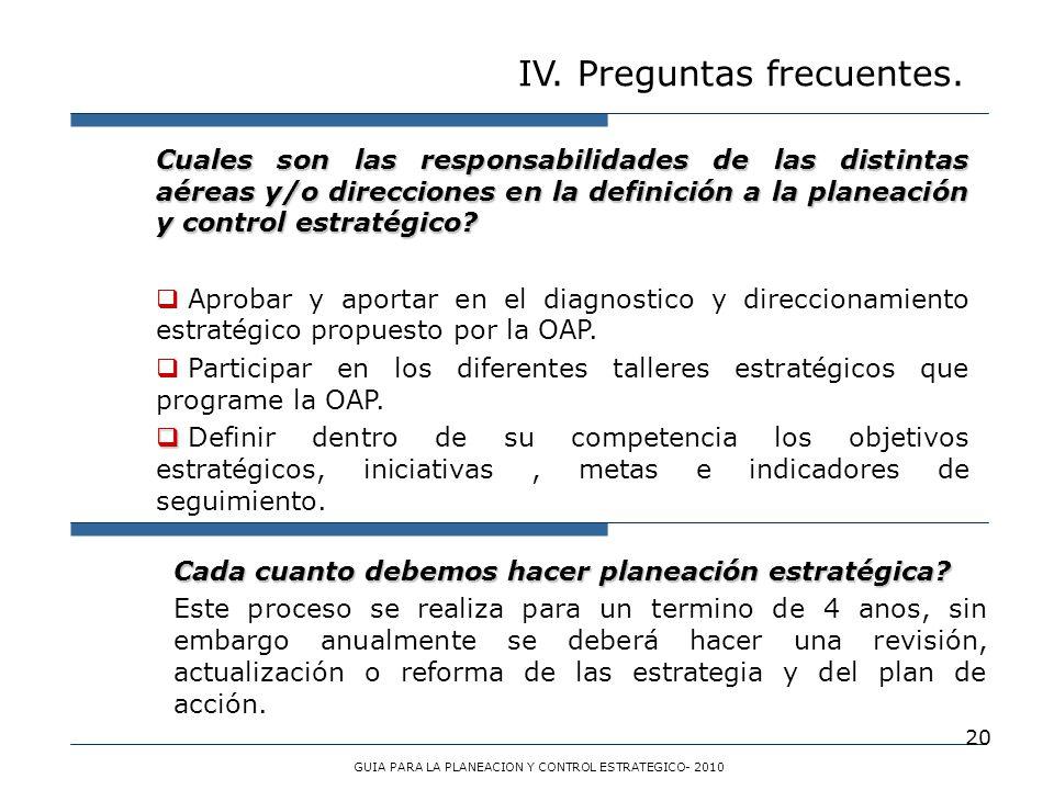 20 IV. Preguntas frecuentes. GUIA PARA LA PLANEACION Y CONTROL ESTRATEGICO- 2010 Cuales son las responsabilidades de las distintas aéreas y/o direccio