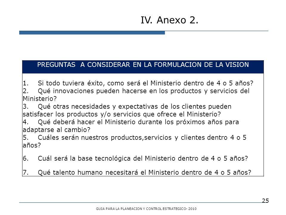 25 IV. Anexo 2. GUIA PARA LA PLANEACION Y CONTROL ESTRATEGICO- 2010 PREGUNTAS A CONSIDERAR EN LA FORMULACION DE LA VISION 1. Si todo tuviera éxito, co