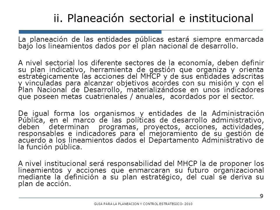 9 La planeación de las entidades públicas estará siempre enmarcada bajo los lineamientos dados por el plan nacional de desarrollo. A nivel sectorial l