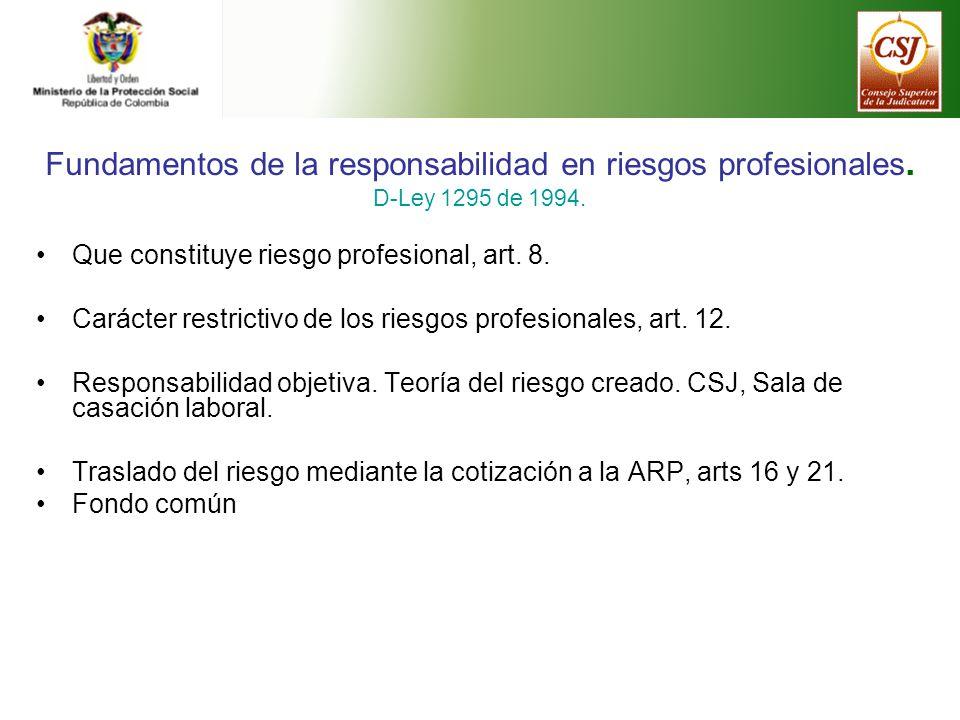 Fundamentos de la responsabilidad en riesgos profesionales.