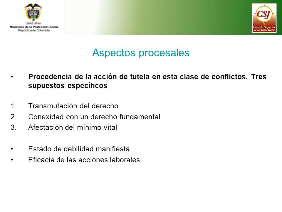 Aspectos procesales Procedencia de la acción de tutela en esta clase de conflictos.