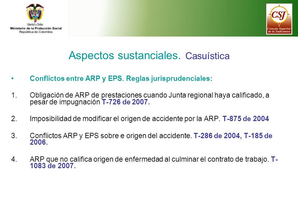 Aspectos sustanciales.Casuística Conflictos entre ARP y EPS.