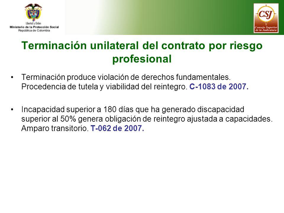 Terminación unilateral del contrato por riesgo profesional Terminación produce violación de derechos fundamentales.