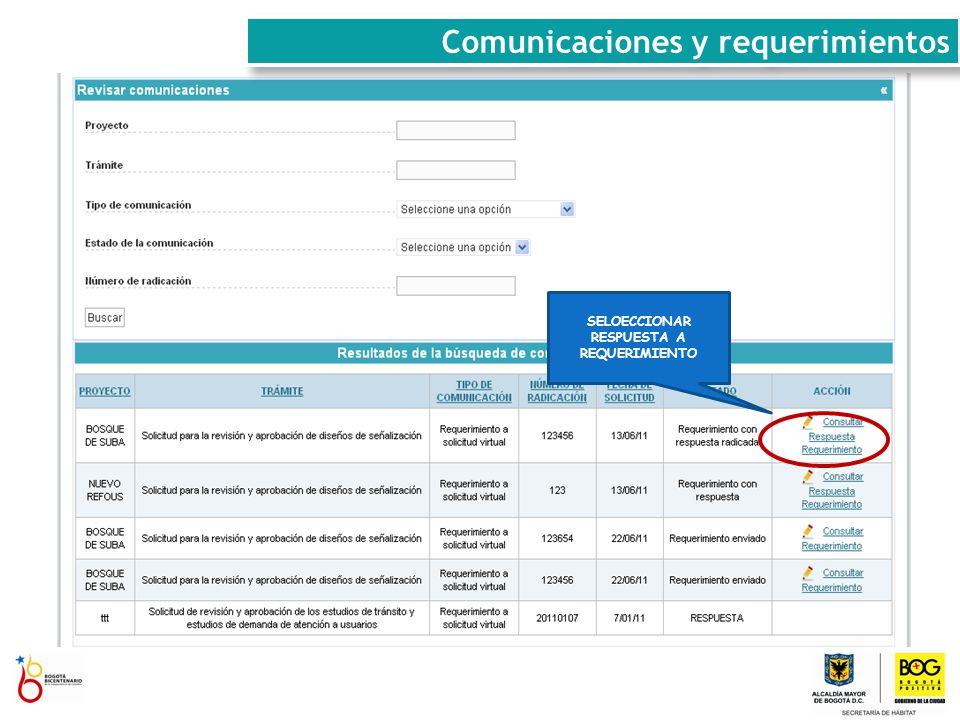 SELOECCIONAR RESPUESTA A REQUERIMIENTO Comunicaciones y requerimientos