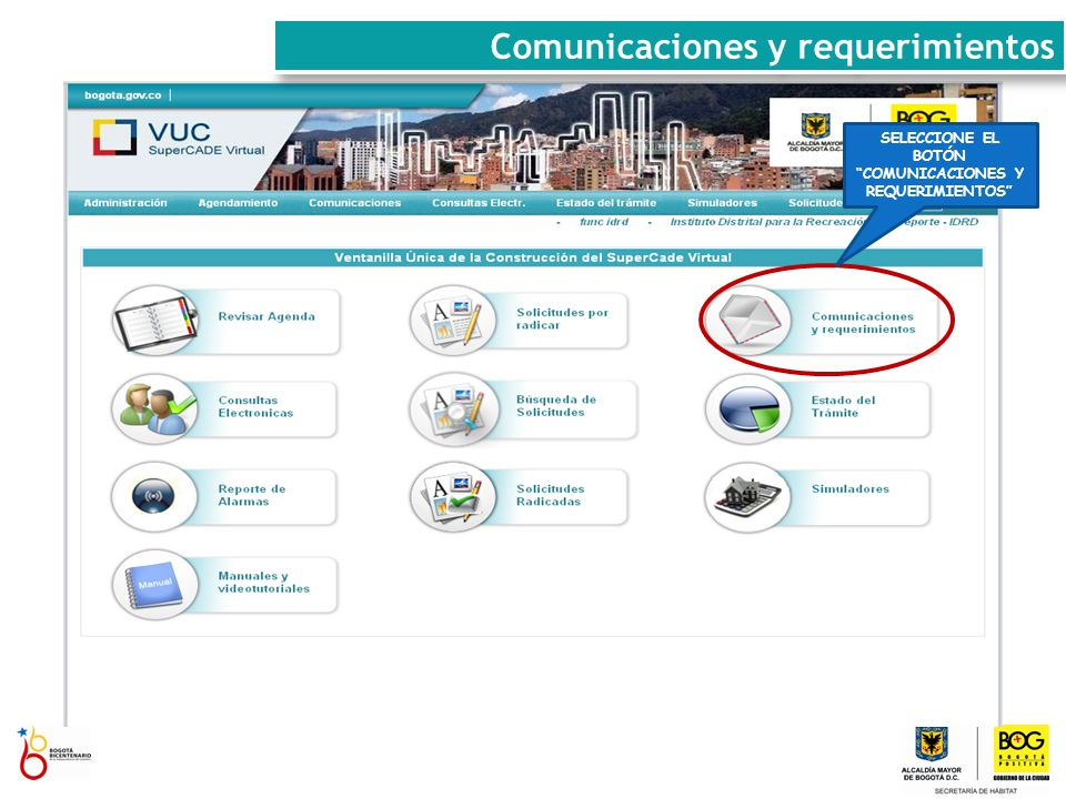 PICA EL BOTÓN CREAR COMUNICACIÓN Comunicaciones y requerimientos
