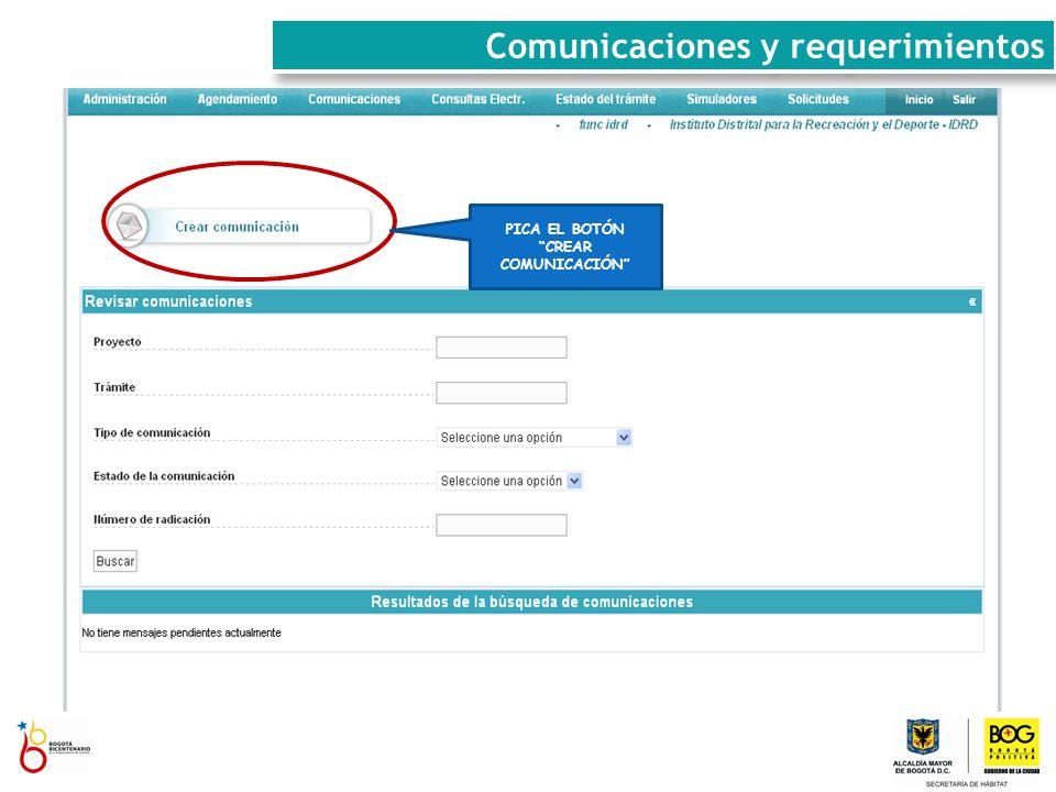 REVISA LA COMUNICACIÓN Y HACE CLICK EN RESPONDER Comunicaciones y requerimientos