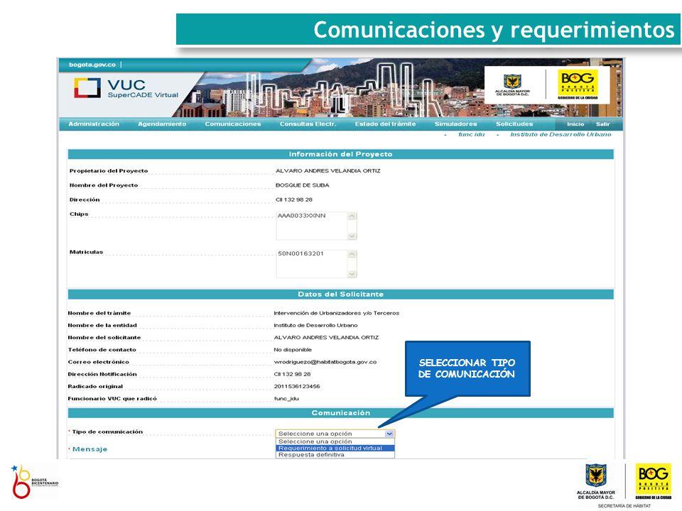 SELECCIONAR TIPO DE COMUNICACIÓN Comunicaciones y requerimientos