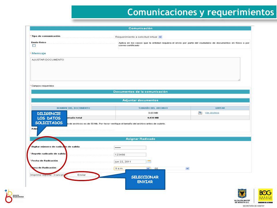 SELECCIONAR ENVIAR DILIGENCIE LOS DATOS SOLICITADOS Comunicaciones y requerimientos