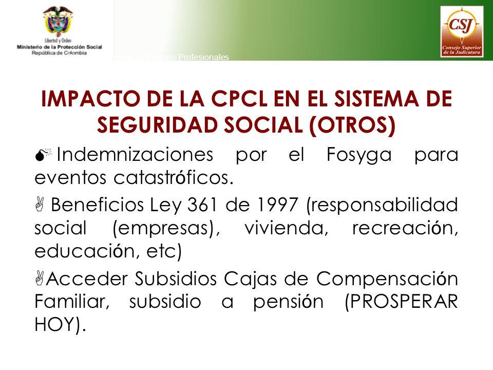 Direeción General de Riesgos Profesionales IMPACTO DE LA CPCL EN EL SISTEMA DE SEGURIDAD SOCIAL (OTROS) Indemnizaciones por el Fosyga para eventos cat