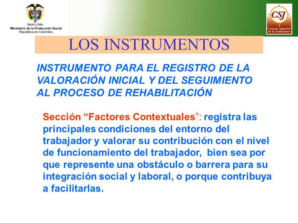 Sección Factores Contextuales: registra las principales condiciones del entorno del trabajador y valorar su contribución con el nivel de funcionamient