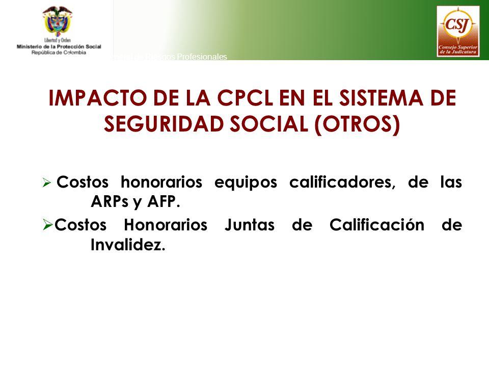 Direeción General de Riesgos Profesionales IMPACTO DE LA CPCL EN EL SISTEMA DE SEGURIDAD SOCIAL (OTROS) Costos honorarios equipos calificadores, de la